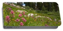 Portable Battery Charger featuring the photograph Rosy Paintbrush And Trees by Cascade Colors