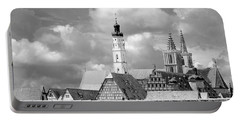 Rothenburg Towers In Black And White Portable Battery Charger