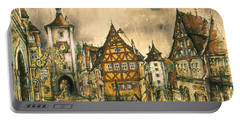 Rothenburg Bavaria Germany - Romantic Watercolor Portable Battery Charger