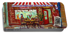 Rotisserie Le Chalet Bbq Restaurant Paintings Storefronts Street Scenes Diners Montreal Art Cspandau Portable Battery Charger