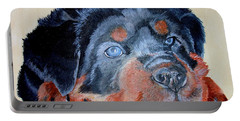 Portable Battery Charger featuring the painting Rottweiler Puppy Portrait by Tracey Harrington-Simpson
