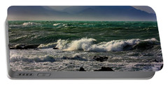 Portable Battery Charger featuring the photograph Rough Seas Kaikoura New Zealand by Amanda Stadther