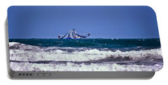Portable Battery Charger featuring the photograph Rough Seas Shrimping by DigiArt Diaries by Vicky B Fuller