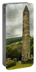 Round Tower At Glendalough Portable Battery Charger by Jeff Kolker