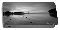 Round Valley At Dawn Bw Portable Battery Charger by Michael Ver Sprill