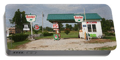 Route 66 Gas Station With Sponge Painting Effect Portable Battery Charger