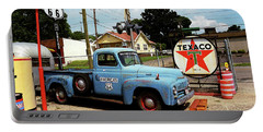 Route 66 - Gas Station With Watercolor Effect Portable Battery Charger
