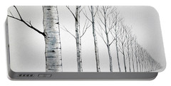 Row Of Birch Trees In The Snow Portable Battery Charger