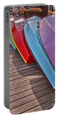 Portable Battery Charger featuring the photograph Row Of Colorful Boats Art Prints by Valerie Garner