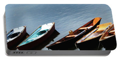 Rowboats On Buffalo Ny Delaware Park Hoyt Lake Oil Painting Effect Portable Battery Charger