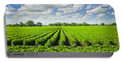 Rows Of Soy Plants In Field Portable Battery Charger
