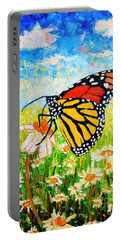 Royal Monarch Butterfly In Daisies Portable Battery Charger