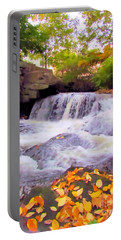 Royal River White Waterfall Portable Battery Charger by Elizabeth Dow