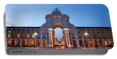 Rua Augusta Arch At Dusk In Lisbon Portable Battery Charger
