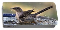 Rub-a-dub-dub Mockingbird Portable Battery Charger by Nava Thompson
