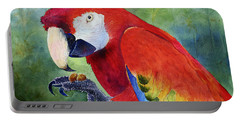 Portable Battery Charger featuring the painting Ruby Having Lunch by Roger Rockefeller
