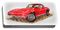 Ruby Red 1966 Corvette Stingray Fastback Portable Battery Charger by Jack Pumphrey