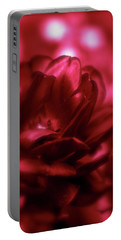 Ruby Red  Dahlia With Bokeh Portable Battery Charger