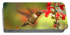 Ruby Throat Hummingbird Photo Portable Battery Charger by Luana K Perez