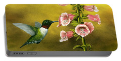 Ruby Throated Hummingbird And Foxglove Portable Battery Charger