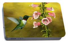 Ruby Throated Hummingbird And Foxglove Portable Battery Charger by Rick Bainbridge