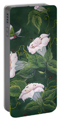 Portable Battery Charger featuring the painting Hummingbird And Lilies by Sharon Duguay
