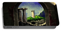 Portable Battery Charger featuring the painting Ruins by Salman Ravish