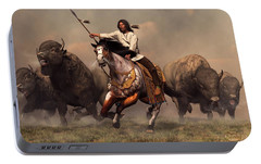 Running With Buffalo Portable Battery Charger by Daniel Eskridge
