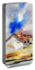 Rural Houses And Dramatic Sky Portable Battery Charger by Carlin Blahnik