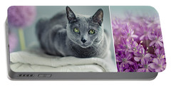 Russian Blue Collage Portable Battery Charger
