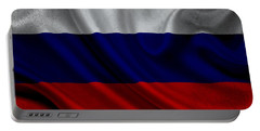 Russian Flag Waving On Canvas Portable Battery Charger by Eti Reid
