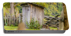 Rustic Fence And Outhouse Portable Battery Charger