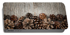 Rustic Wood With Pine Cones Portable Battery Charger