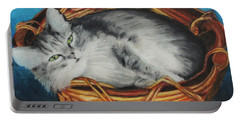 Sabrina In Her Basket Portable Battery Charger by Jeanne Fischer