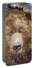 Portable Battery Charger featuring the digital art Sad Brown Bear by Kim Prowse
