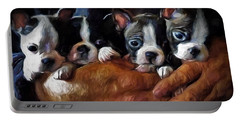 Safe In The Arms Of Love - Puppy Art Portable Battery Charger