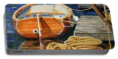 Portable Battery Charger featuring the painting Safe Mooring by Roger Rockefeller