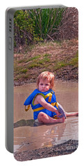 Portable Battery Charger featuring the photograph Safety Is Important - Toddler In Mudpuddle Art Prints by Valerie Garner