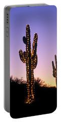 Saguaro Cacti With Christmas Lights Portable Battery Charger
