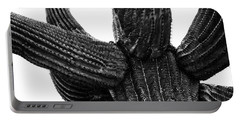 Saguaro Cactus Black And White 3 Portable Battery Charger