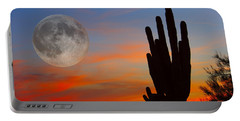 Saguaro Full Moon Sunset Portable Battery Charger