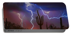 Saguaro Lightning Nature Fine Art Photograph Portable Battery Charger by James BO  Insogna