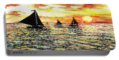 Portable Battery Charger featuring the painting Sail Away With Me by Shana Rowe Jackson