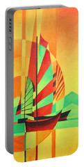 Portable Battery Charger featuring the painting Sail To Shore by Tracey Harrington-Simpson