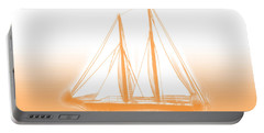 Sailboat Background Orange Portable Battery Charger by Methune Hively