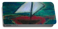 Portable Battery Charger featuring the painting Sailboat by Jacqueline McReynolds