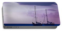 Portable Battery Charger featuring the photograph Sailboats At Sunset by Don Schwartz
