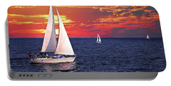 Sailboats At Sunset Portable Battery Charger