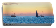 Sailboats At Sunset Off Key West Florida Portable Battery Charger