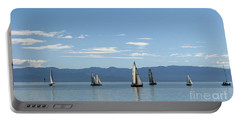 Sailboats In Blue Portable Battery Charger